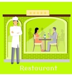 Urban Restaurant Facade with Customers vector image