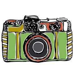 Vintage film camera black outline on a white vector image