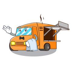 waiter food truck festival on shape cartoon vector image
