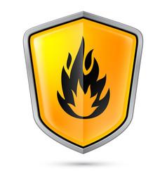 Warning sign on shield indicating flammable vector
