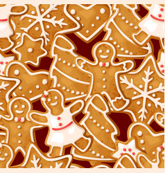 winter seamless patterns with gingerbread cookies vector image