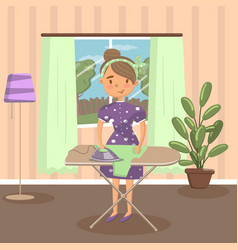 woman housewife ironing clothes on an ironing vector image