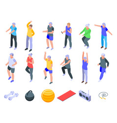 Workout seniors icons set isometric style vector