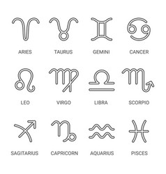 zodiac outline icon set vector image