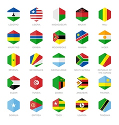 Africa Flag Icons Hexagon Flat Design vector image vector image