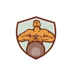 Athlete Weightlifter Lifting Kettlebell Crest vector image vector image