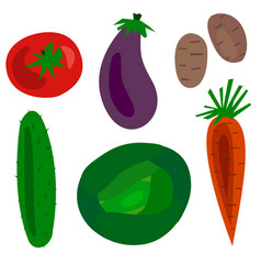 flat cartoon vegetables set vector image