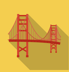 golden gate bridge icon in flate style isolated on vector image