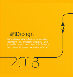 New year 2018 plug and socket vector