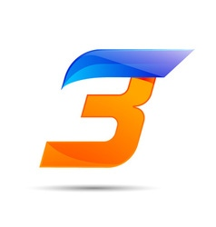 Number three 3 logo orange and blue color with vector image vector image