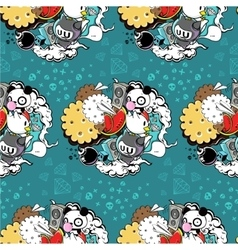 pattern with panda and cookie vector image