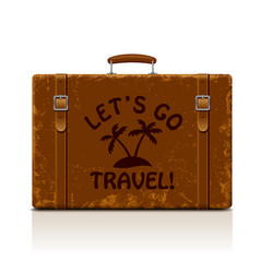 vintage brown threadbare suitcase with straps and vector image vector image