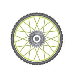 black metallic bicycle wheel with green spokes vector image vector image