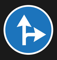 compulsory ahead or right sign flat icon vector image