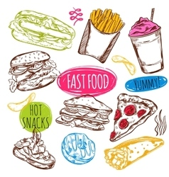 Fast Food Sketch Set vector image vector image
