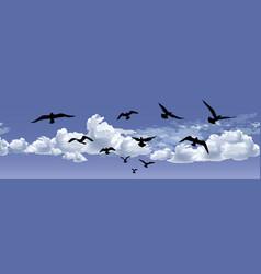 flock of bird flying blue sky background animal vector image vector image