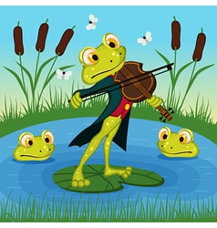Frog plays the violin vector