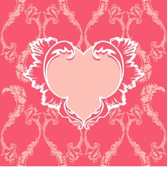 Heart with floral pattern on vintage background vector image vector image