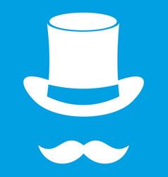 magic black hat and mustache icon white vector image