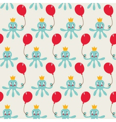 Seamless birthday pattern with cute octopus vector image