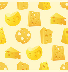 seamless pattern with tasty slices of cheese vector image vector image
