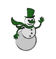 snowman cartoon christmas vector image vector image