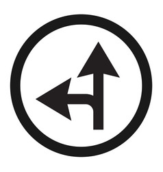 Compulsory ahead or left sign line icon vector