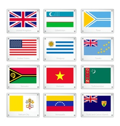 Gallery of Countries Flags on Metal Texture Plates vector image vector image