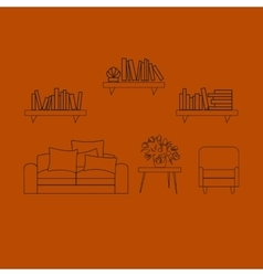 Home hotel room interior with comfortable vector image