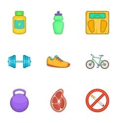 Sport icons set cartoon style vector image