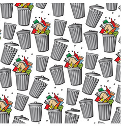 background pattern with trash can vector image vector image