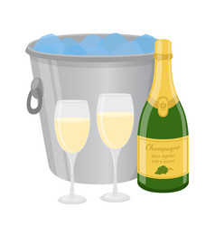 Champagne in ice bucket cartoon flat style vector