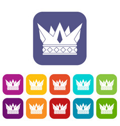 Cog crown icons set flat vector