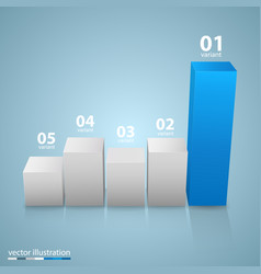 data 3d growth chart vector image vector image
