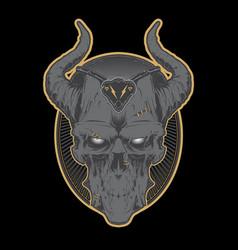 decrepit evil cartoon skull with horns vector image vector image