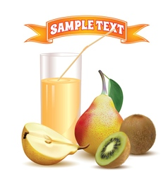 glass with juice pear and kiwi vector image