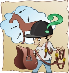 inexperienced horse rider vector image vector image