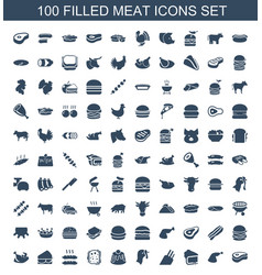 100 meat icons vector
