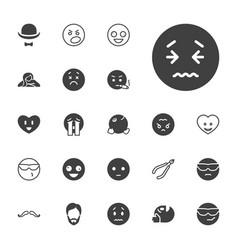 22 facial icons vector