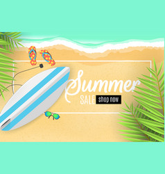 Advertising banner for summer sale surfboard vector