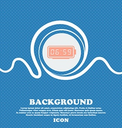 alarm clock icon sign Blue and white abstract vector image
