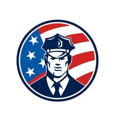 American Policeman Security Guard Retro vector