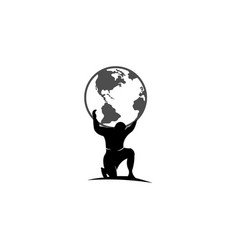 Atlas titan holding globe design vector