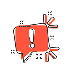 Attention sign icon in comic style warning banner vector