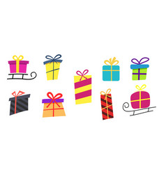 big collections colorful gifts box gift icons vector image