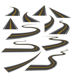big set of asphalt road curves turns bankings vector image