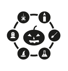 black halloween icon set vector image