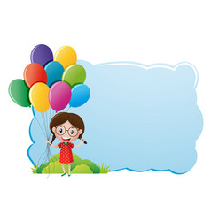 Border template with girl and balloons vector