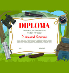 Boy scout diploma template with camping equipment vector