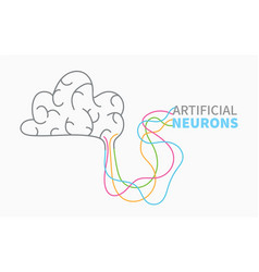 Brain and artificial electronic neurons banner vector